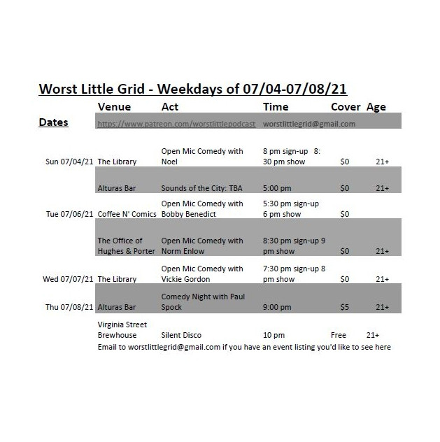 Worst Little Weekday Grid - 07/04-07/08/21 Venue Act Time Cover Age Dates https://www.patreon.com/worstlittlepodcast worstlittlegrid@gmail.com Sun 07/04/21 The Library Open Mic Comedy with Noel 8 pm sign-up 8:30 pm show $0 21+ Alturas Bar Sounds of the City: TBA 5:00 pm $0 21+ Tue 07/06/21 Coffee N' Comics Open Mic Comedy with Bobby Benedict 5:30 pm sign-up 6 pm show $0 The Office of Hughes & Porter Open Mic Comedy with Norm Enlow 8:30 pm sign-up 9 pm show $0 21+ Wed 07/07/21 The Library Open Mic Comedy with Vickie Gordon 7:30 pm sign-up 8 pm show $0 21+ Thu 07/08/21 Alturas Bar Comedy Night with Paul Spock 9:00 pm $5 21+ Virginia Street Brewhouse Silent Disco 10 pm Free 21+ Email to worstlittlegrid@gmail.com if you have an event listing you'd like to see here