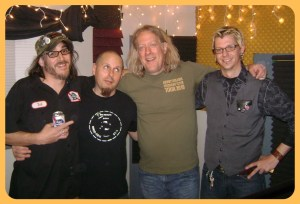 from left to right, arms ajoined, Nick Ramirez smiling, Rick Spagnola looking up, Max Volume smiling and Rory Dowd smiling.