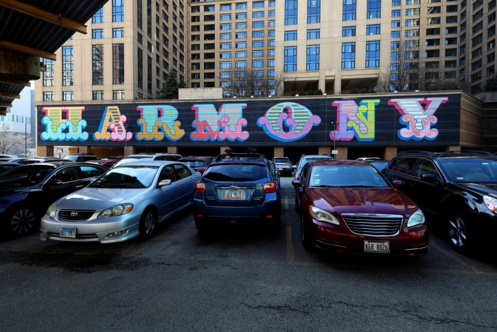 Ben Eine's Harmony, a mural in the Wabash Arts Corridor downtown. Photo by Raymond Boyd/Getty Images
