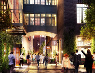 Rendering of the Shinola Hotel and Parker's Alley. Photo courtesy of the Shinola Hotel