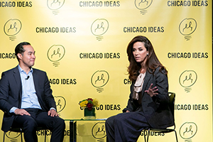Julián Castro, former secretary of housing and urban development (L), and Claudia Romo Edelman of the We Are All Human Foundation at Chicago Ideas Week, October 20, 2018. Photo by Jeff Schear/Getty Images for We Are All Human Foundation