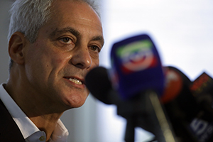 Outgoing mayor Rahm Emanuel at a news conference on August 6, 2018, after one of Chicago's most violent weekends. More than 70 people were shot, with 12 fatalities. Photo by Joshua Lott/Getty Images