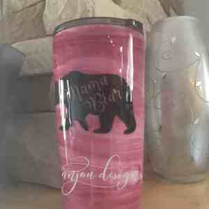 Pink Alcohol Ink Mama Bear Stainless Steel Tumbler