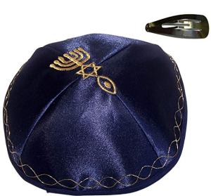 Holy Land Market Blue Kippah with Golden Messianic Sign Embroidered Satin with Clip