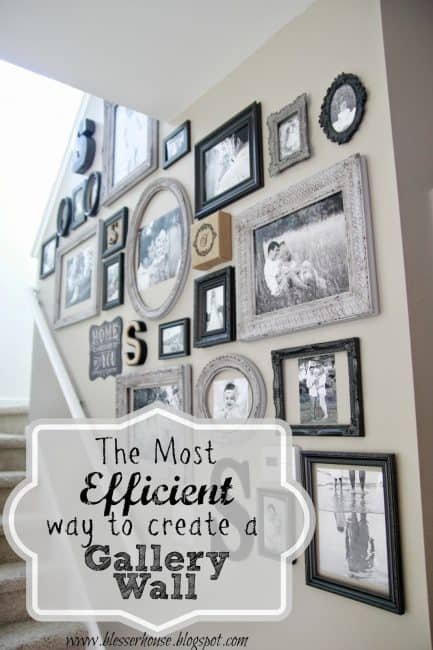 Tips for creating the perfect gallery wall.  Use this method and you won't wind up with a bunch of unused holes in your wall.