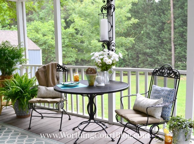 Screen porch eating area