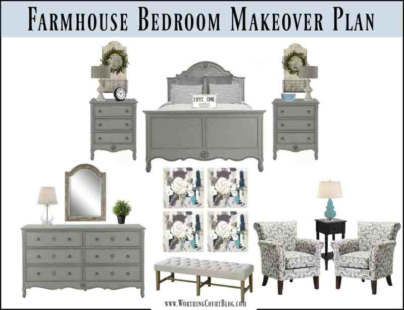 A mood board for farmhouse style bedroom makeover plans || Worthing Court