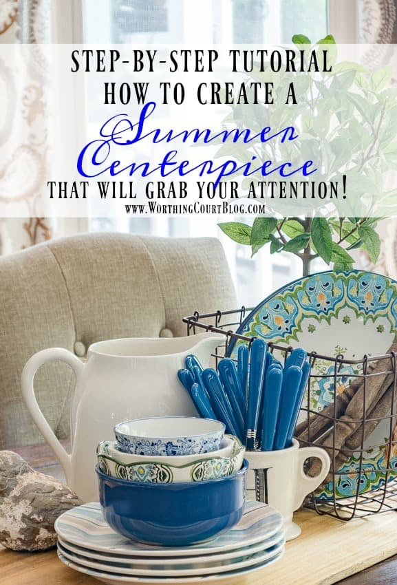 A step by step tutorial for putting together an eye catching farmhouse style summer centerpiece for you table using items from your own stash || Worthing Court