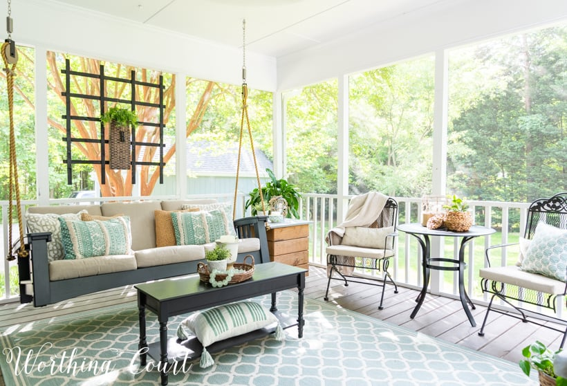 cozy and inviting screened in porch
