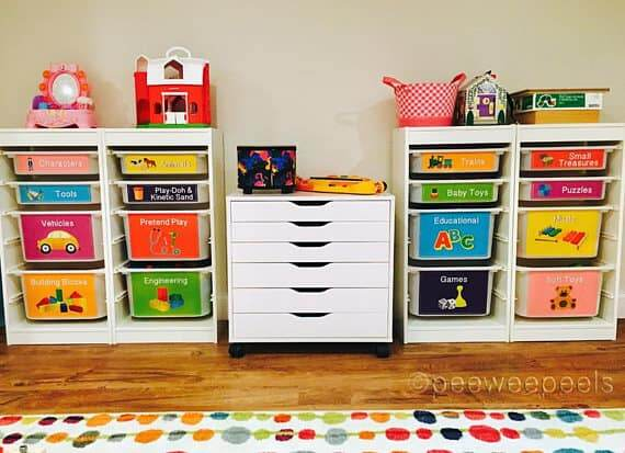 Organize toys with toy bin labels