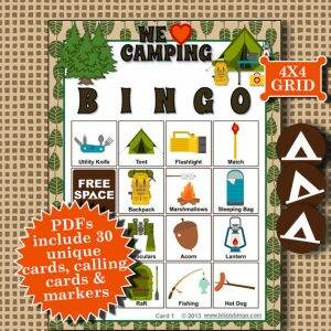 Camping bingo printable game for kids