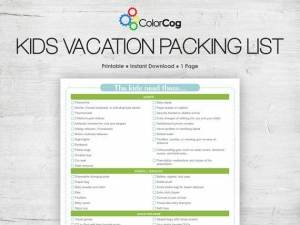 Kids Vacation Packing List Printable