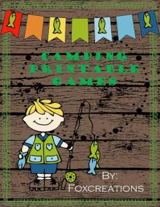 Camping printable games for kids