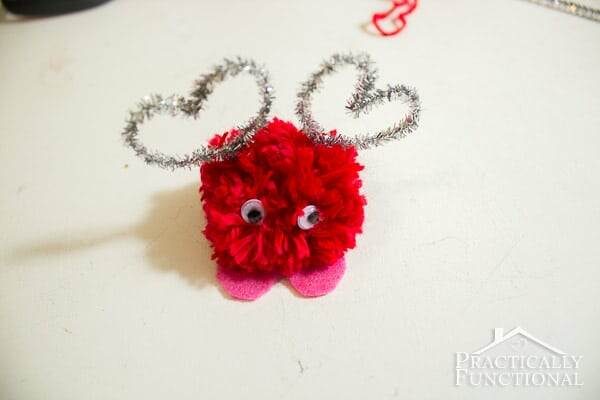 Kids Valentines Day craft pom pom monsters