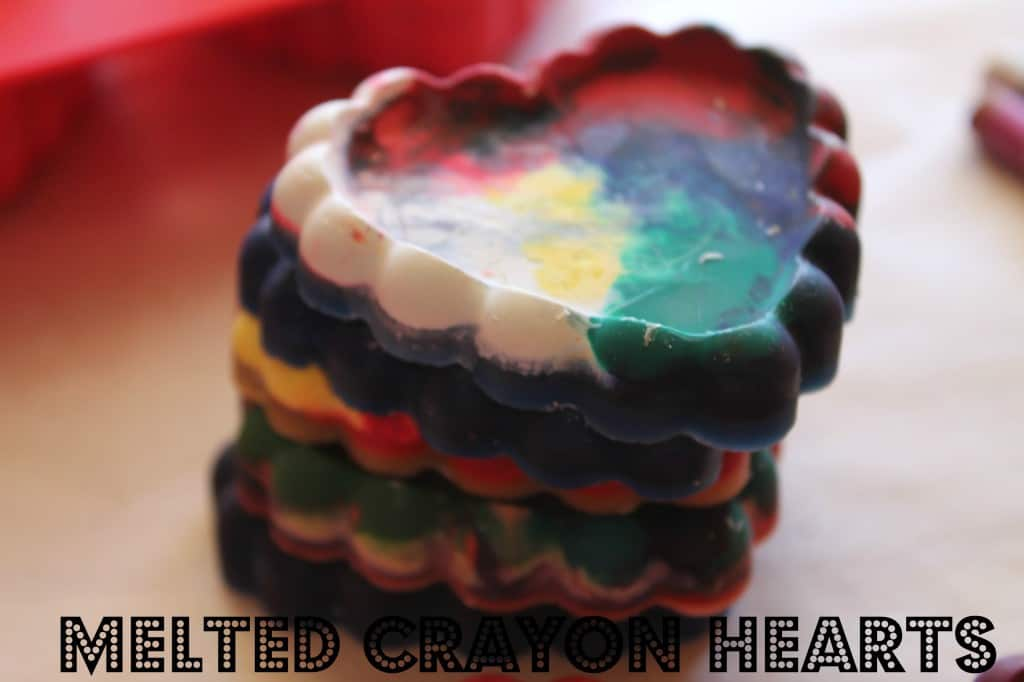 melted crayon hearts valentine's day craft