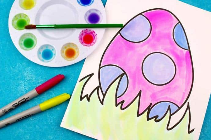 Easter craft for kids with watercolors