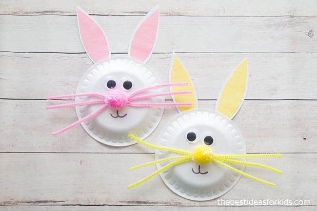 Paper plate Easter craft bunny for kids