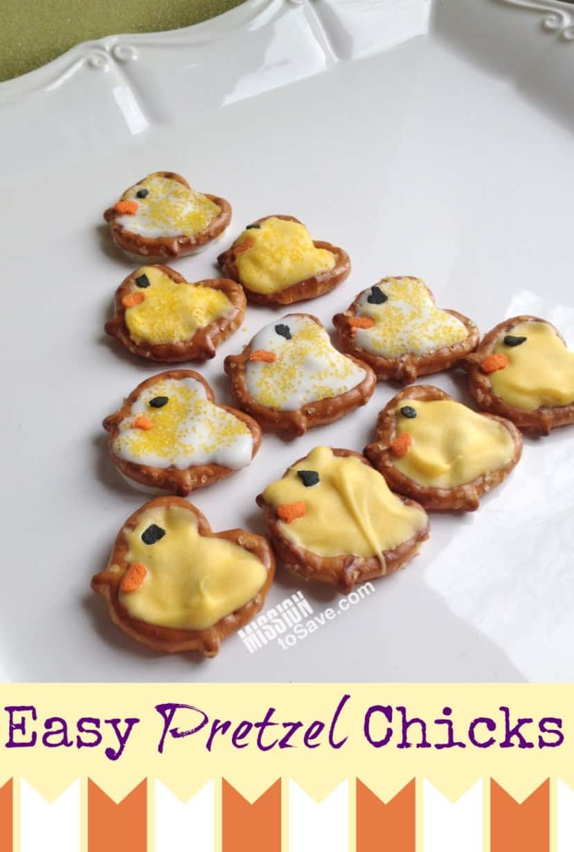 Easter treat pretzel chicks