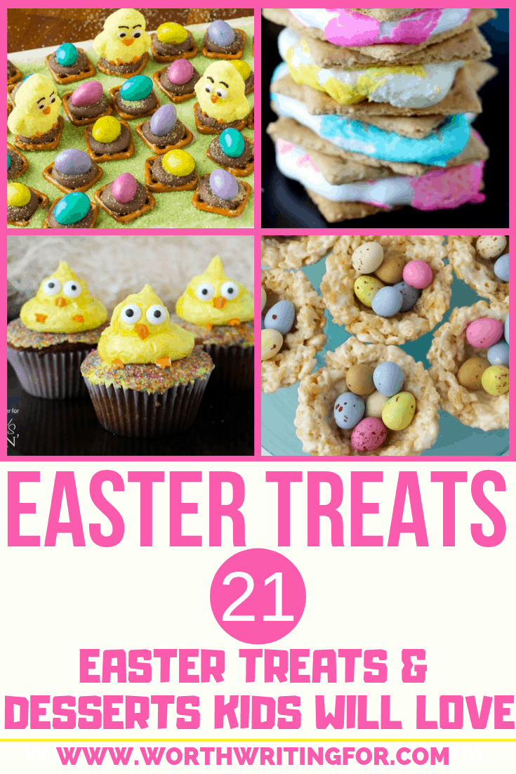 21 Easter treats and desserts kids will love! Have kids help in the kitchen with these fun Easter treats or make them as a fun Easter surprise. List includes some gluten free Easter treat options as well!