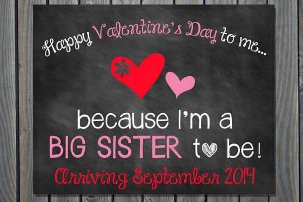 Big Sister or Big Brother Pregnancy Announcement for Valentine's Day