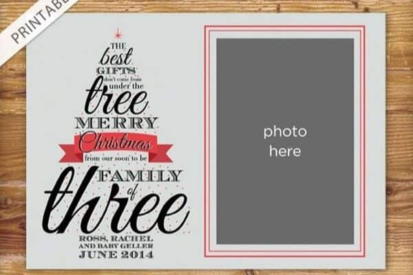 Christmas card pregnancy announcement with photo