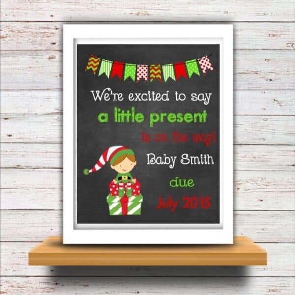christmas pregnancy announcement sign for photo