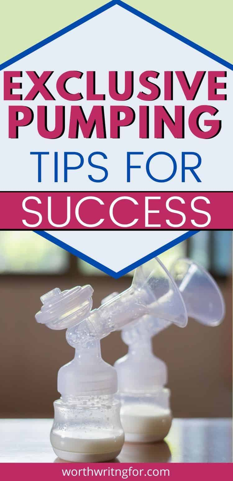 Exclusive Pumping tips for Success at Breastfeeding without nursing or bottle feeding pumped breast milk.