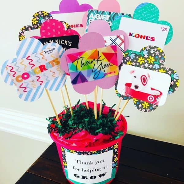 Gift card bouquet teacher gift idea