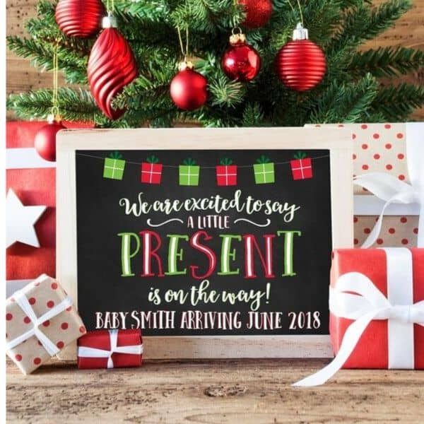 holiday card pregnancy reveal sign