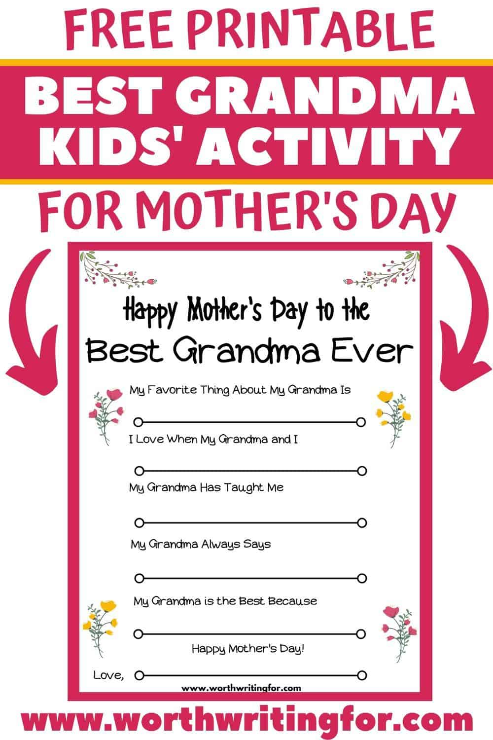 all about grandma printable for mother's day