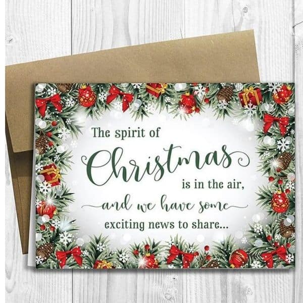 pretty pregnancy announcement christmas card