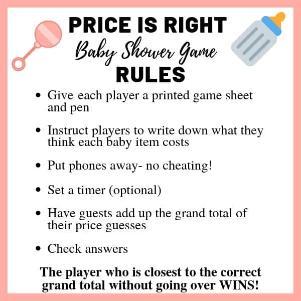 how to play price is right baby shower game