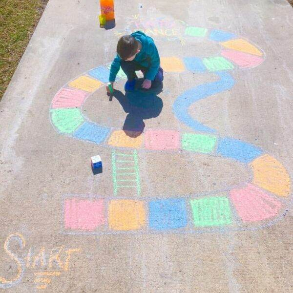 sidewalk chalk game idea for kids