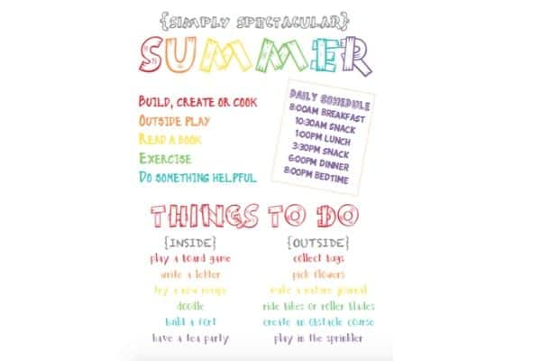 fun summer schedule printable