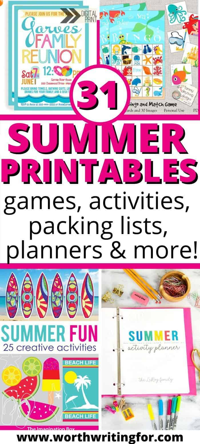 printable kids games for summer