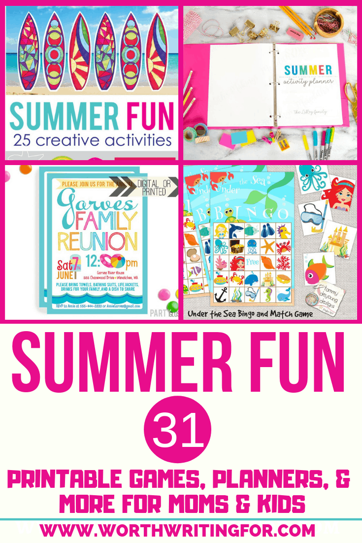 Printable Summer Activities for kids & summer planners for moms