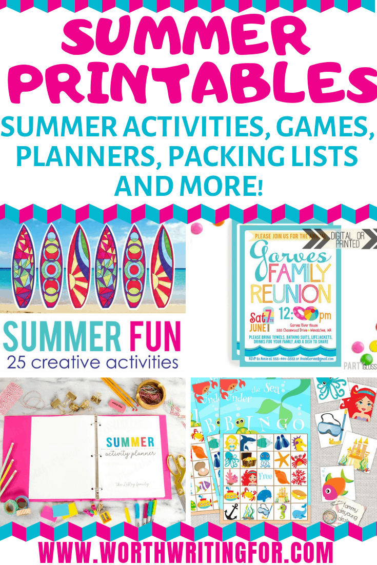 Summer printables for moms and kids