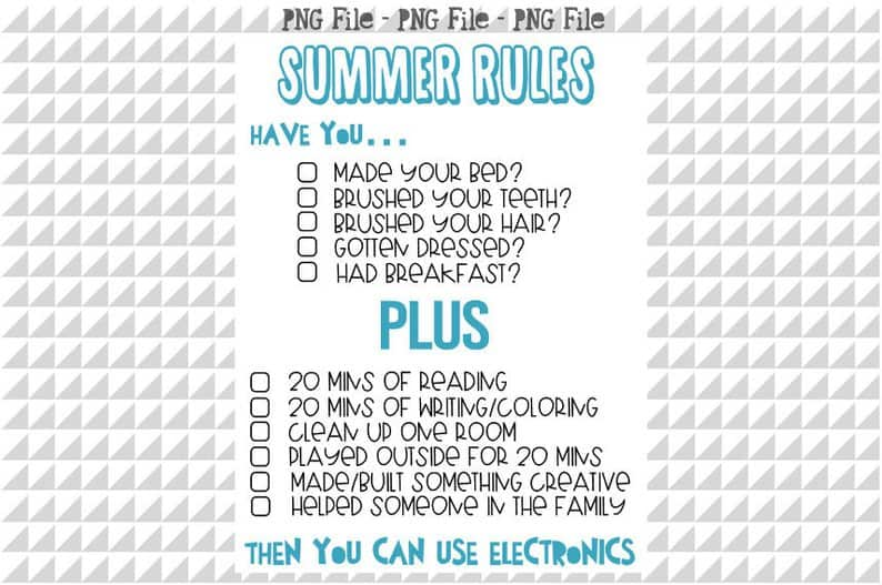 Summer Rules for Kids Printable