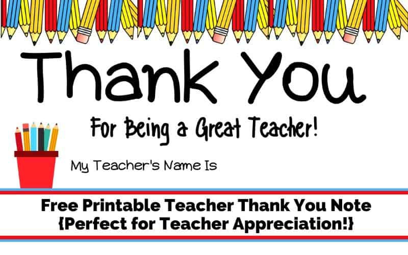 teacher appreciation thank you cards printable