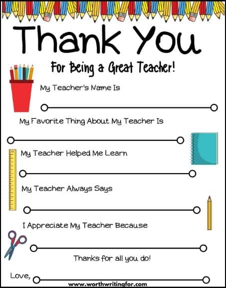thank you teacher printable card