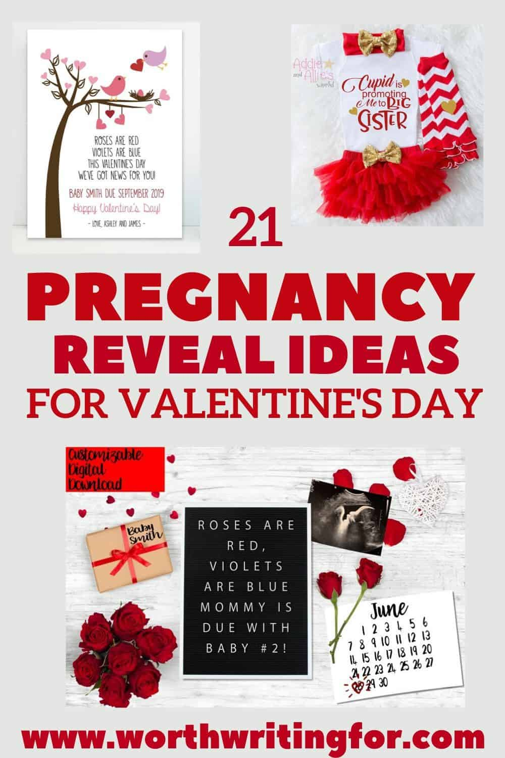 Valentine's Day pregnancy post for social media