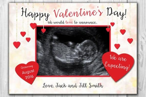 Valentine's Day pregnancy announcement to family with card
