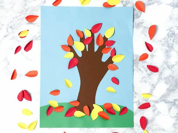 handprint tree fall craft for kids