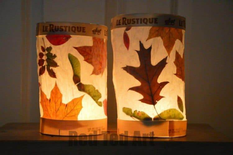 leaf lanterns fall craft for preschool