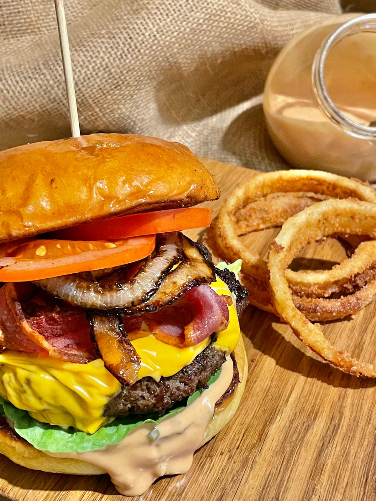 Wagyu Burger and onion rings