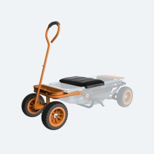 graphic showing Worx Aerocart gardent seat attachment to transform Aerocart into a garden cart with a seat