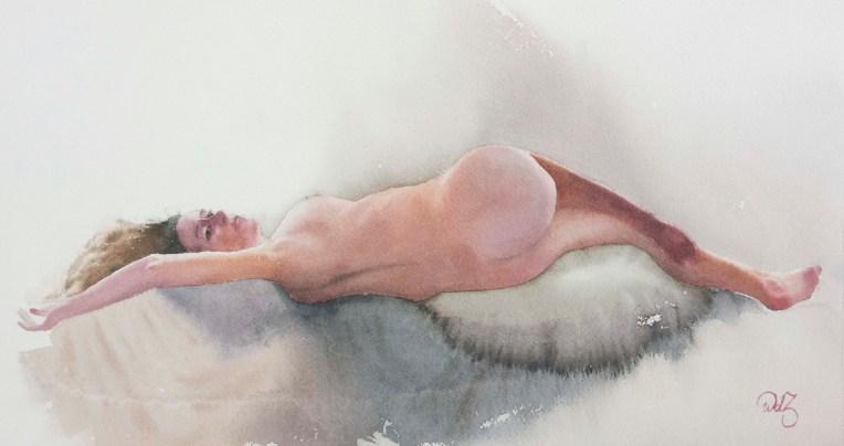 Figure study, Watercolor, 15 x 22 inch (38 x 56 cm).