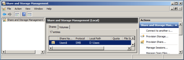 Share and storage management
