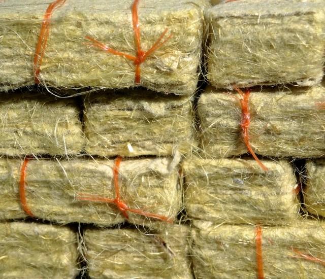 Detail of straw paper bales