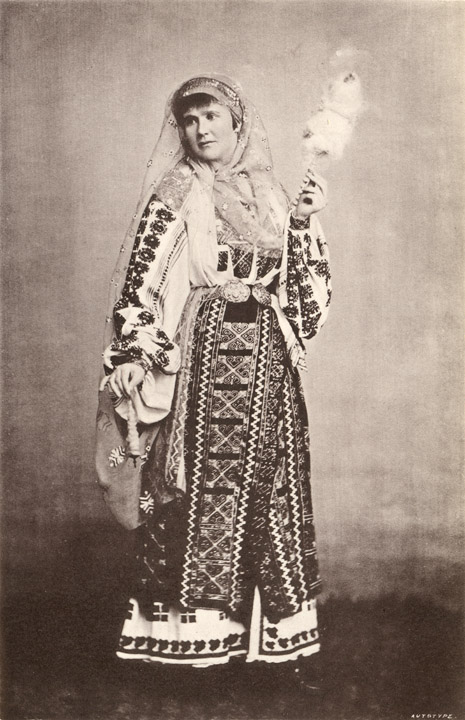 H. M. Pauline Elizabeth First Queen of Roumania in the National Costume from a photograph by Franz Duschek, Roumania Past and Present by James Samuelson, George Philip & Son, London, 1882 - photo found on Wiki Commons and now in the public domain